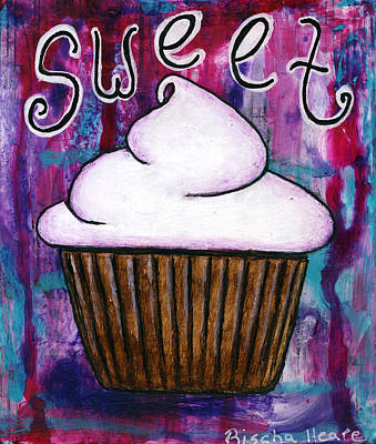 Folk Painting - Sweet Cupcake by Rischa Heape