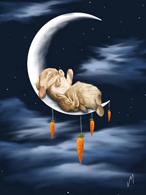Rabbit Painting - Sweet Dreams by Veronica Minozzi