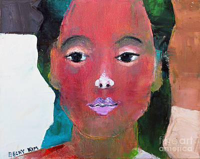 Pallet Knife Painting - Sweet Face by Becky Kim