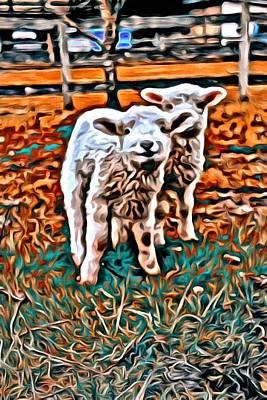 Cattle Dog Digital Art - Sweet Faced Lamb by Jen  Brooks Art