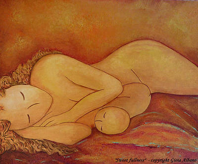 Breastfeeding Painting - Sweet Fullness by Gioia Albano