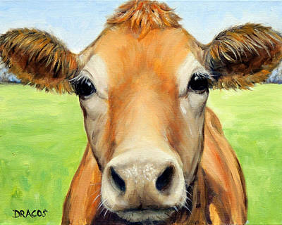 Cow Art Painting - Sweet Jersey Cow In Green Grass by Dottie Dracos