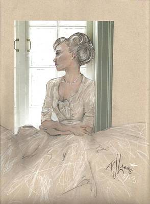 White Dress Mixed Media - Sweet Lady Anne by P J Lewis