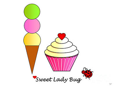 Children Ice Cream Digital Art - Sweet Lady Bug by Geraldine Cote