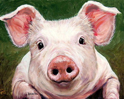 Sweet Little Piglet On Green Art Print