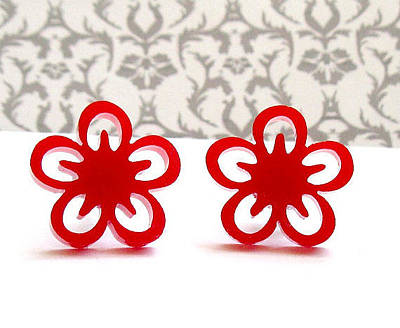 Perspex Jewelry Jewelry - Sweet Little Red Flowers Stud Earrings by Rony Bank