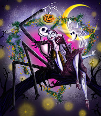 Nightmare Before Christmas Drawing - Sweet Loving Dreams In Halloween Night by Alessandro Della Pietra