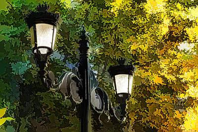 Digital Art - Sweet Old-fashioned Streetlights - Impressions Of Fall by Georgia Mizuleva
