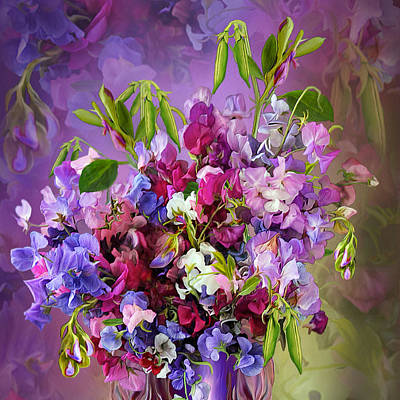 Mixed Media - Sweet Pea Bouquet by Carol Cavalaris