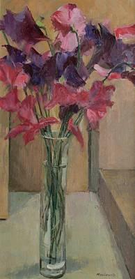 Sweet Pea Flowers Painting - Sweet Peas by Pat Maclaurin