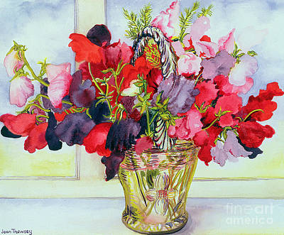 Sweet Peas In A Vase Art Print by Joan Thewsey