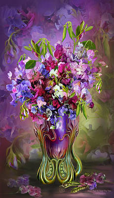 Flowers In Vase Mixed Media - Sweet Peas In Sweet Pea Vase by Carol Cavalaris