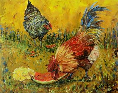 Rooster And Hen Painting -  Sweet Pickins, Chickens by Sandra Cutrer
