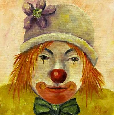 Rodeo Clown Painting -  Sweet Potato The Party Clown by Sandra Cutrer