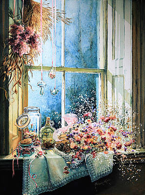 Window Sill Painting - Sweet Scents To Savor by Hanne Lore Koehler