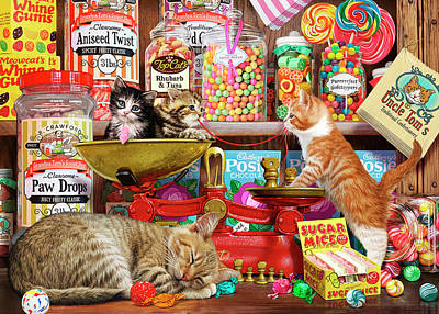 Candy Jar Painting - Sweet Shop Kittens by Steve Read