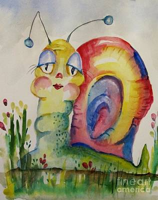 Whimsical Painting - Sweet Snail by Delilah  Smith