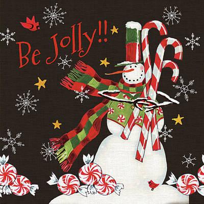Candy Painting - Sweet Snowmen II Black by Anne Tavoletti