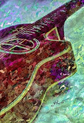 Sweet Sounds 3 Digital Guitar Art By Steven Langston Art Print