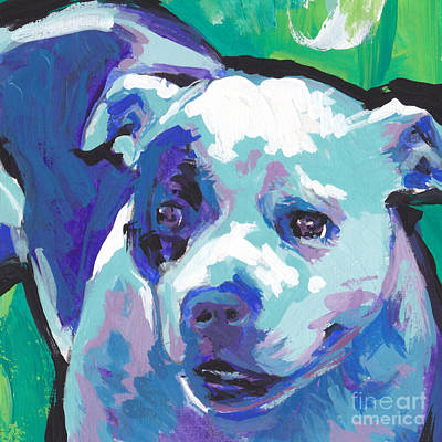 Bull Terrier Art Painting - Sweet Staffy by Lea S