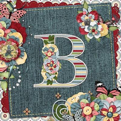 Sweet Surprises Monogram Letter  B Print by Debra  Miller