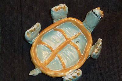 Customcrittersbydeb Sculpture - Sweet Turtle Dish by Debbie Limoli