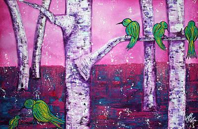 Birch Tree Painting - Sweet Tweet by Laura Barbosa