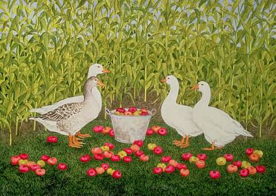 Geese Painting - Sweetcorn Geese by Ditz
