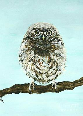 Painting - Sweetest Baby Owl by Leslie Allen