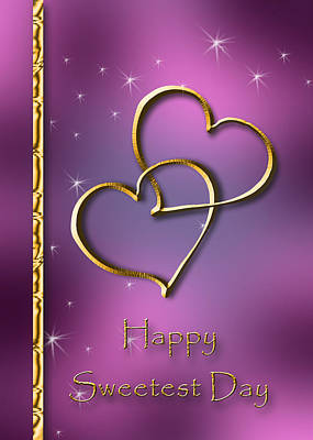 Digital Art - Sweetest Day Gold Hearts by Jeanette K