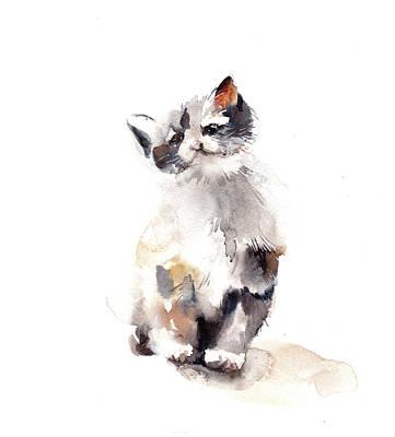 Watercolor Cat Painting - Sweetie by Sophia Rodionov