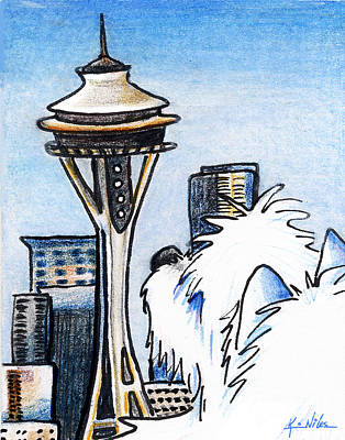 West Highland Terrier Drawing - Sweetness In Seattle by Kim Niles
