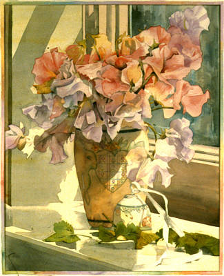 Vase Table Photograph - Sweetpea On The Windowsill by Julia Rowntree
