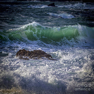 Swells In Doninos Beach Galicia Spain Art Print