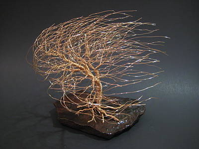 Metal Tree Sculpture - Swept Away Wire Tree Sculpture by Ken Phillips