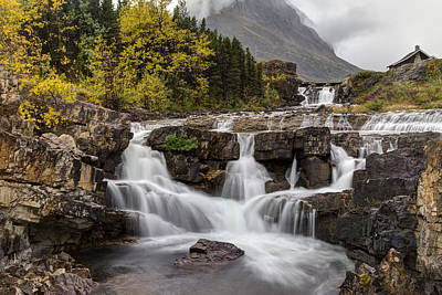 Many Glacier Photograph - Swiftcurrent Falls In Autumn by Mark Kiver