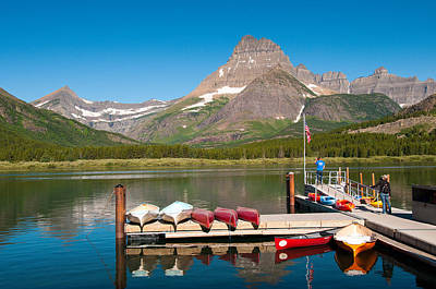 Photograph - Swiftcurrent Lake by Steve Stuller