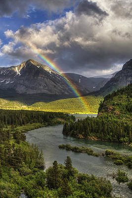 Stormy Photograph - Swiftcurrent River Rainbow by Mark Kiver