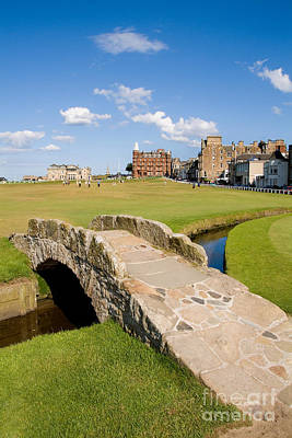 Scottish Photograph - Swilcan Bridge On The 18th Hole At St Andrews Old Golf Course Scotland by Unknown