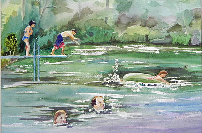 Swim At Little Elk Lake Art Print by Christine Lathrop