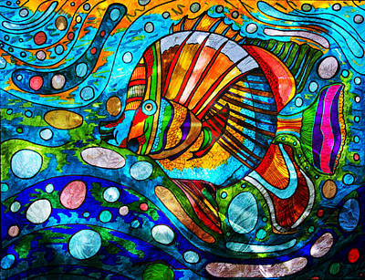 Painting - Swim Little Fishy Swim - Colorful Abstract Fish by Marie Jamieson