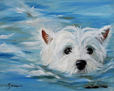 Westie Dog Painting - Swimmer by Mary Sparrow