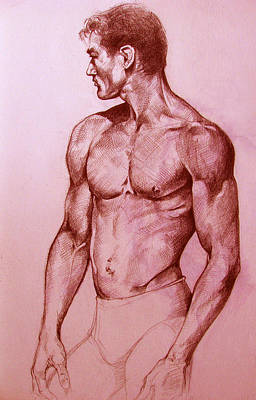 Swimmer Drawing - Swimmer Profile by Derrick Higgins