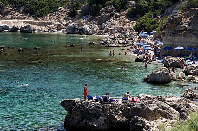 Photograph - Swimmers At Anthony Quinn Bay  by Lorraine Devon Wilke