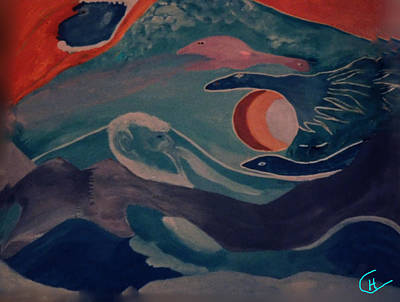 Hera Painting - Swimmers  by Colette V Hera  Guggenheim