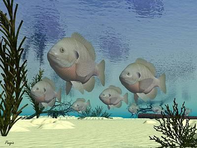 Digital Art - Swimmers by John Pangia