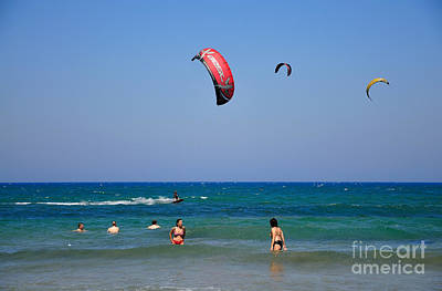 Photograph - Swimming And Kitesurfing In Prasonisi by George Atsametakis
