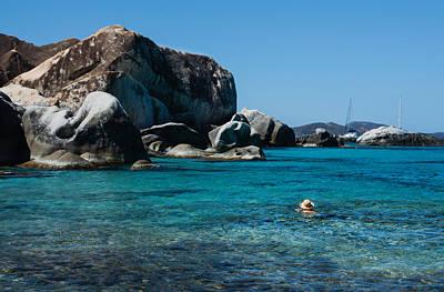 Photograph - Swimming At The Baths On Virgin Gorda British Virgin Islands by Georgia Mizuleva