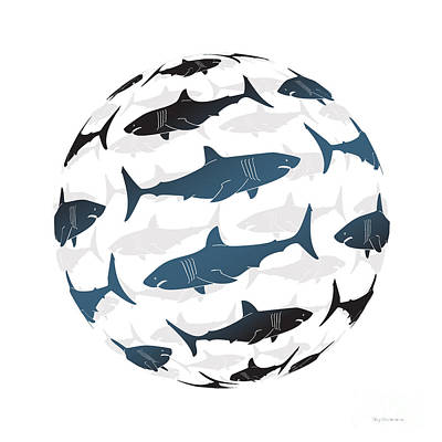 Digital Painting - Swimming Blue Sharks Around The Globe by Amy Kirkpatrick