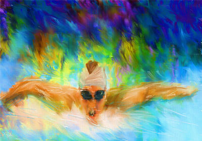Swimming Digital Art - Swimming Fast by Lourry Legarde